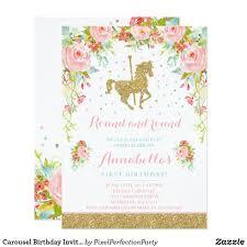 Carousel Birthday Invitation Floral Pink Mint Gold Zazzle Com