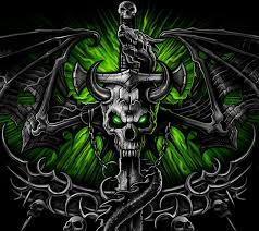 2880x2560 px green skull wallpaper