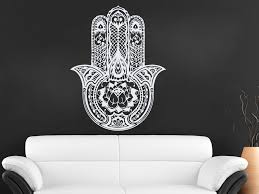 56x71cm Art Design Hamsa Hand Wall Decal Vinyl Fatima Yoga Vibes Sticker Indian Buddha Home Decor Lotus Pattern Mural Indian Home Decor Olivia Decor Decor For Your Home And Office