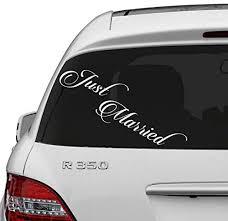 Amazon Com Slaf Ltd 16 X 5 Just Married Vinyl Car Decal Design Wedding Cling Banner Decoration Quote Sticker Decals Back Car Window Mirror Free Random Decal Gift Home Kitchen