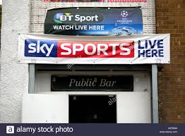 sky sports bt sport love football pub adverts watch live here banners Stock  Photo - Alamy
