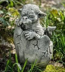 cast stone hatching dragon garden