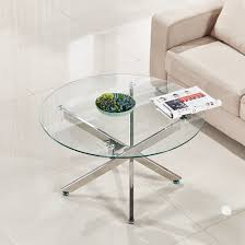 coffee table round white tempered glass