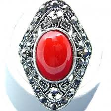 red jasper oval natural stone cocktail