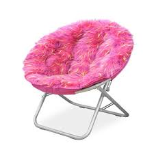 Shop Spiker Pink Faux Fur And Metal Frame Saucer Chair Overstock 13751481