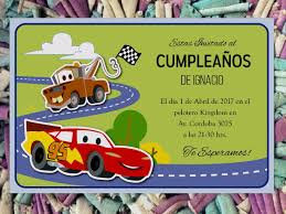20 Cars Invitacion Infantil Cumpleanos Autos Disney 480 00 En