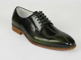 Men Leather Dress Shoes GIOVANNI two Tone Lace up wing tip ...