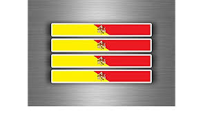 4x Sticker Car Motorrad Stripes Flag Sicilia Sicily Sicilian Auto Parts And Vehicles Motorcycle Decals Stickers Magenta Cl