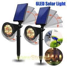 2x 6 led solar garden lamp spot light