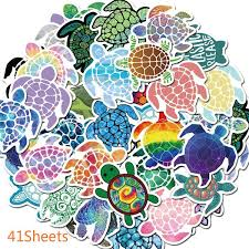 41sheets Vsco Sea Turtle Stickers Cool Girl Laptop Anime Cartoon Stickers Pack For Skateboard Car Decal Christmas Kids Toys Waterproof Sticker Wish