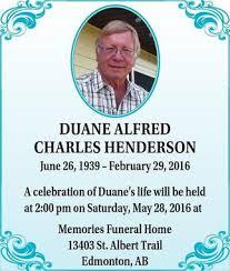 Duane Henderson | Obituary | Whitecourt Star