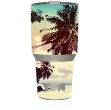 Skin Decal For Yeti 30 Oz Tumbler Cup 6 Piece Kit Faded Beach Palm Tree Tro For Sale Online