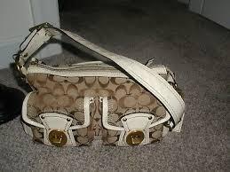 tan white patent leather shoulder purse