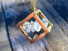 raw herkimer diamond necklace mens