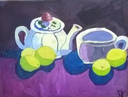 Tea And Lemons Painting by Yvonne West