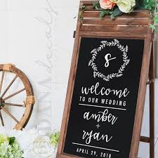 Elegant Personalized Wedding Welcome Sign Decal Shop Wedding Chalkboard Signs Wedding Decal Welcome To Our Wedding