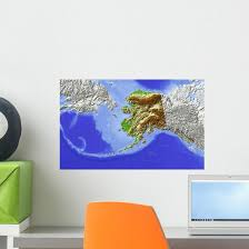 Alaska Shaded Relief Map Wall Decal Wallmonkeys Com