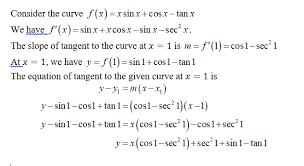 tangent line of f x xsinx cosx tanx