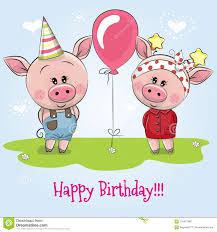 Tarjeta De Cumpleanos Del Saludo Con Los Cerdos Lindos Ilustracion