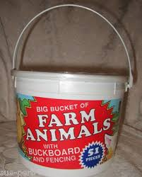 Vintage Tim Mee Toy Plastic 51 Pc Bucket Of Farm Animals W Fencing Factory Seald 308404940