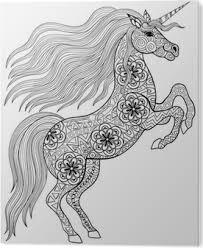 Fotobehang Getrokken Magic Unicorn Voor Volwassen Anti Stress