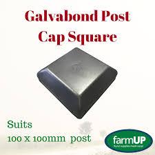 1x Galvabond Post Cap Square 100mm X 100mm Steel Fence Tube Flat Top Pool Home Bosag Rural