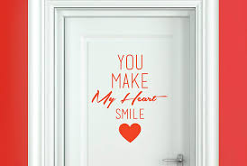 Amazon Com Cut It Out You Make My Heart Smile Door Room Stickers Art Decals Orange Height 46cm X Width 40cm Home Kitchen