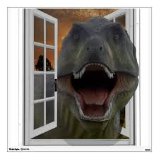 T Rex Dinosaur Sunset Theme Mural Fake Window Wall Decal Zazzle Com