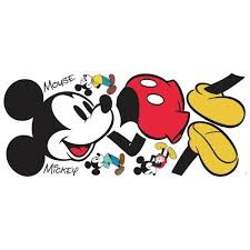 Roommates 5 In X 19 In Mickey Mouse 10 Piece Peel And Stick Giant Wall Decal Rmk3259gm The Home Depot
