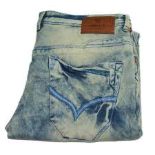on men dirty washed denim jeans