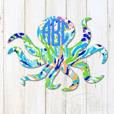Lilly Octopus Monogram Decal Sew Southern Designs