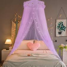 Amazon Com Jeteven Girl Bed Canopy Lace Mosquito Net For Girls Bed Princess Play Tent Reading Nook Round Lace Dome Curtains Baby Kids Games House Purple Home Kitchen