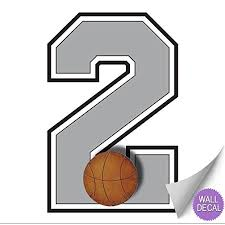 Wall Number 2 Basketball Jersey Numbers Varsity Uniform Vinyl Sticker Decals Children Room Decor Baby Nursery Boys Sport Bedroom Team Stickers Kids Sports Decorations Balls Decal Mural Graphics Girl Wish