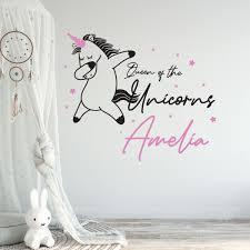 Unicorn Themed Custom Girl Name Vinyl Wall Sticker