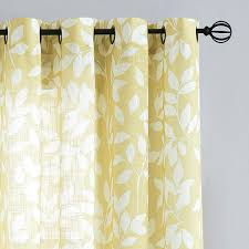 Natwin Yellow White Curtains For Living Room 63 Quot Length Leaves Print Semi Sheers Curtains For Kid S Room Kids Curtains White Curtains Yellow Kids Curtains