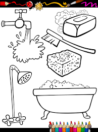 objetos de higiene para colorear