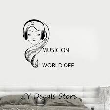 Music On Vinyl Decal Quote Teen Girl Room Music Headphones Musical Wall Sticker Mural Bedroom Removable Decor Wall Decals S659 Decorative Wall Decal Wall Decalsmusic Wall Sticker Aliexpress