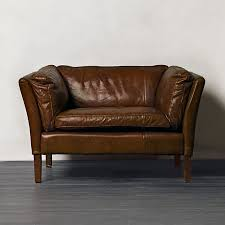 halo groucho leather armchair in cocoa