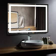 horizontal led bathroom silvered mirror
