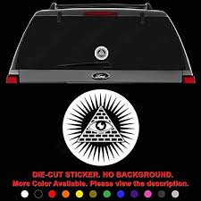 Amazon Com Illuminati All Seeing Eye Die Cut Vinyl Decal Sticker For Car Truck Motorcycle Vehicle Window Bumper Wall Decor Laptop Helmet Size 12 Inch 30 Cm Tall And Color Matte Black