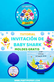 Invitacion Baby Shark Moldes Party Pop