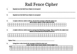 Igcse Rail Fence Cipher Encryption Decryption Task Teaching Resources