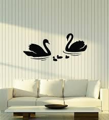 Vinyl Wall Decal Couple Swans Birds Bathroom Decor Stickers Mural G18 Wallstickers4you