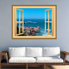 Ocean Scene 3d Window Frame Family Wall Art Vinyl Decal Rocky Beach Wall Decal Window Frame Peel And Stick Mural Nw84 Wall Decal