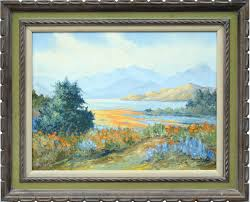 Loretta Adele Lee Kirchoff - California Lupines and Poppies Landscape For  Sale at 1stDibs