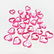 1 18 heart shaped pink color acrylic
