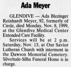 Obituary for Ada Blezinger Reinhardt Meyer (Aged 92) - Newspapers.com