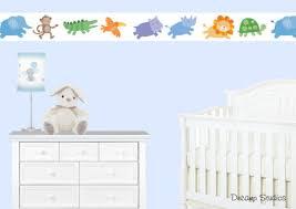 Safari Animal Nursery Wallpaper Border Wall Art Decals Jungle Stickers Kids Room Baby Wallpaper Borders