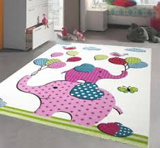 Childrens Animal Rug White Pink Elephant Nursery Mat Large Kids Bedroom Carpets Ebay