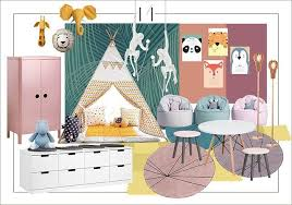 Kids Room Design Mood Board Cheerfull Tents Animal Prints Mediana Interiors Kids Room Design Interior Design Boards Mood Board Design